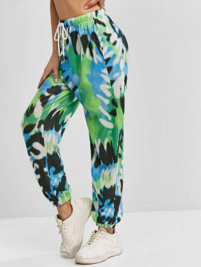 ZAFUL Tie Dye Drawstring Waist Jogger Pants - Deep Green S