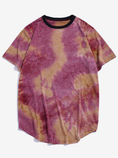 Tie Dye Crew Neck Longline Curved T Shirt - Red S