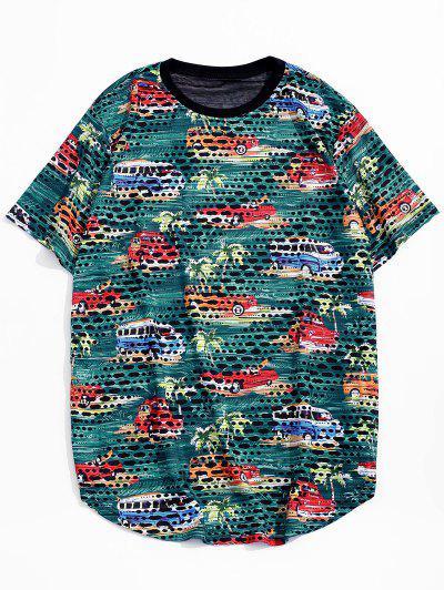 Car Palm Tree Print Sheer Patch Hole Crew Neck T Shirt - Green S