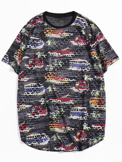 Car Palm Tree Print Sheer Patch Hole Crew Neck T Shirt - Black L