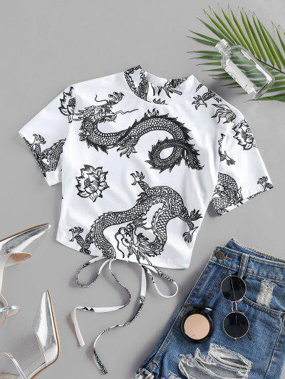 ZAFUL Dragon Flower Print Oriental Open Back Crop T-shirt - White L
