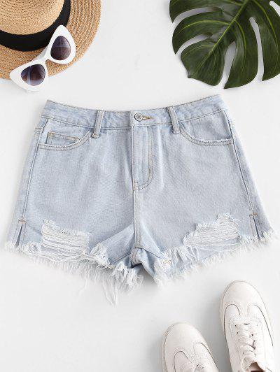 Destroyed Frayed Hem Denim Cutoff Shorts - Light Blue Xl