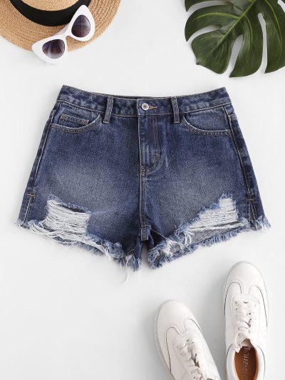 Destroyed Frayed Hem Denim Cutoff Shorts - Deep Blue M