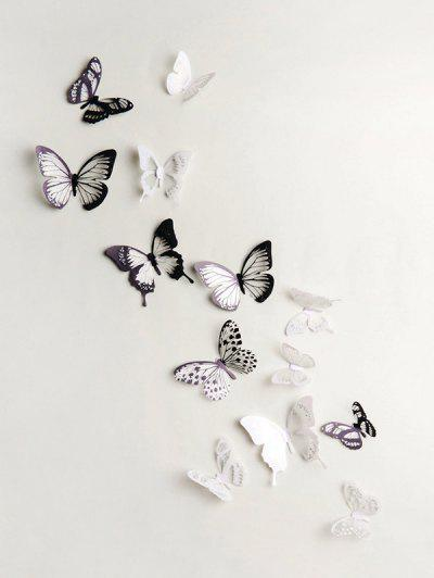 3D Butterflies Background Decorated Wall Stickers - Multi-a 18pcs