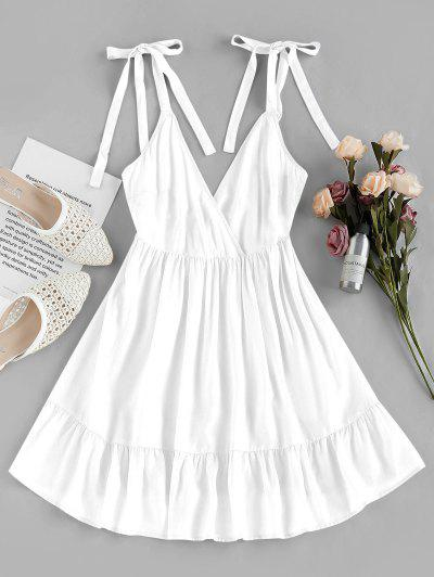 ZAFUL Ruffle Edge A Line Wrap Dress - White M