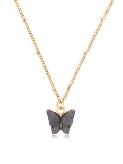 Collier Chaîne Pendant Papillon En Acrylique - Gris Carbone