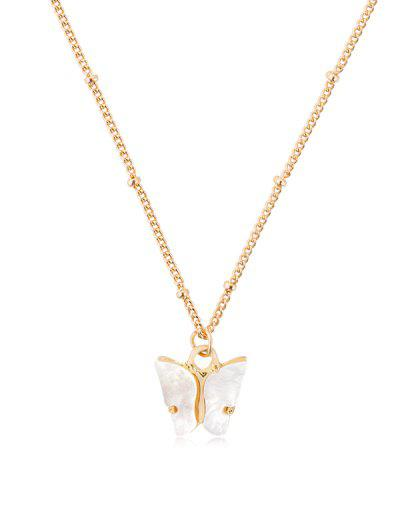 Acrylic Butterfly Pendant Chain Necklace - White
