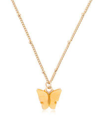 Acrylic Butterfly Pendant Chain Necklace - Yellow