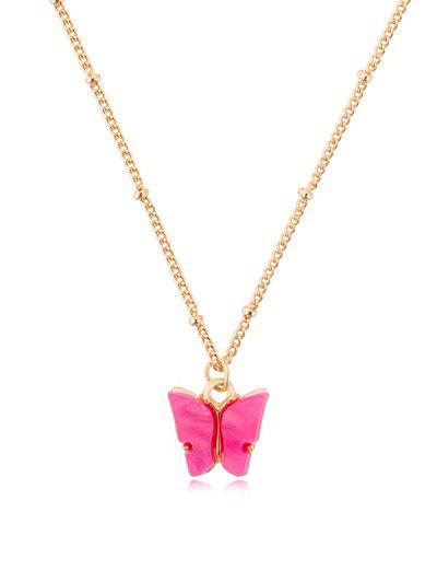 Acrylic Butterfly Pendant Chain Necklace - Rogue Pink