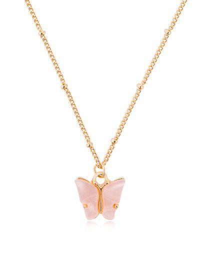 Acrylic Butterfly Pendant Chain Necklace - Sakura Pink