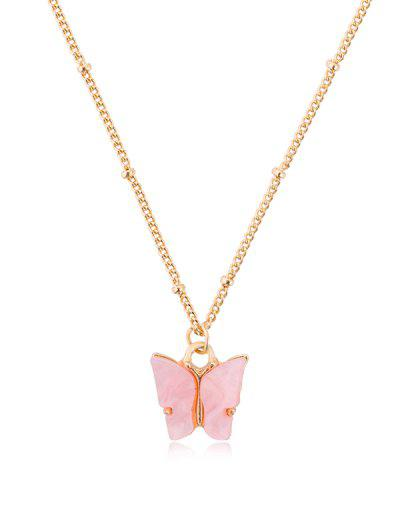 Acrylic Butterfly Pendant Chain Necklace - Watermelon Pink