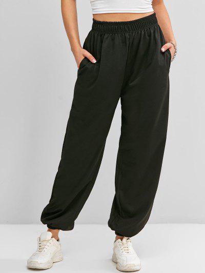 High Waisted Pocket Jogger Sweatpants - Black L