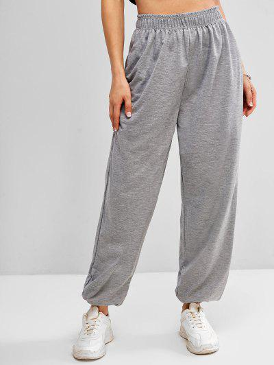 High Waisted Pocket Jogger Sweatpants - Gray L