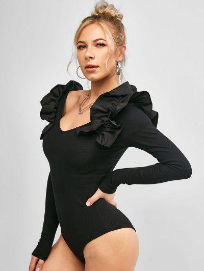 Long Sleeve Ruffles V Neck Ribbed Bodysuit - Black S