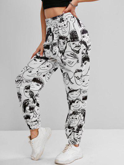 ZAFUL Pop Art Print High Waisted Jogger Pants - White M