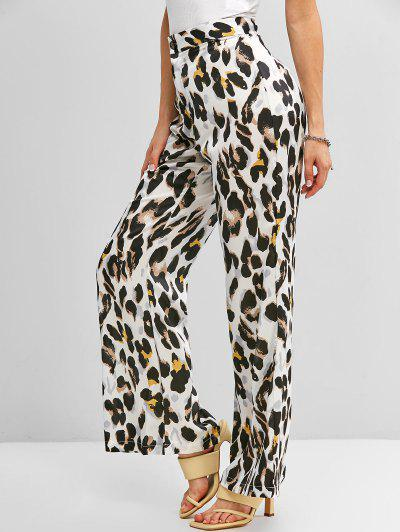 Pantalones Anchos Con Pierna Ancha De Leopardo De Estampado De Animal - Blanco L