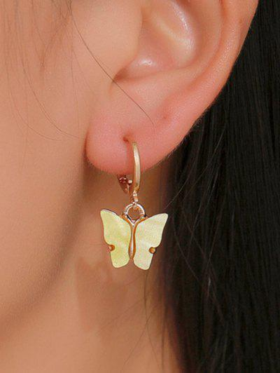 Butterfly Pendant Small Hoop Earrings - Yellow