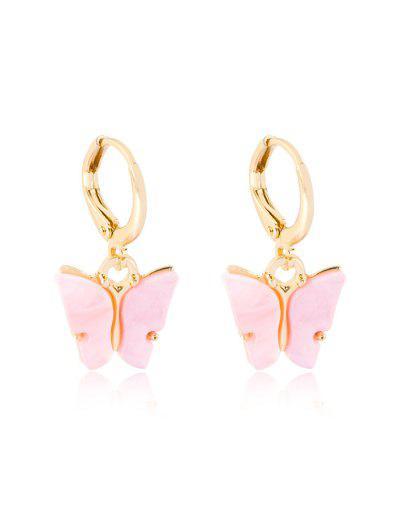Butterfly Pendant Small Hoop Earrings - Pig Pink