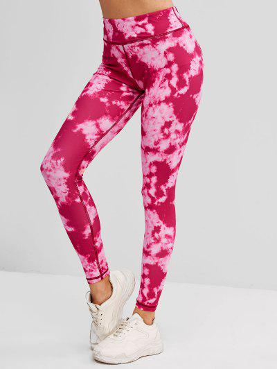 Tie Dye Topstitching High Rise Leggings - Red S