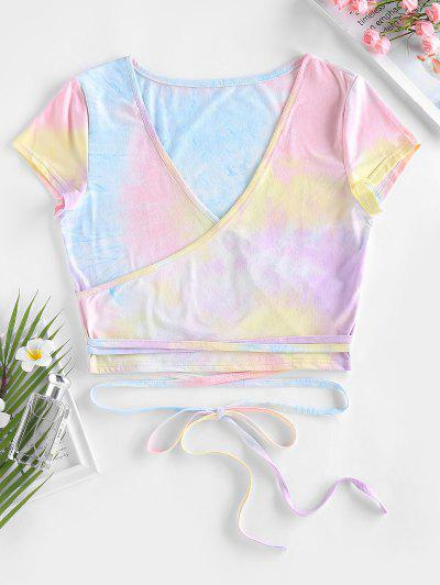 ZAFUL Tie Dye Surplice Crop Tee - Multi L