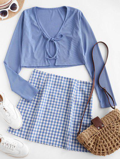 Tie Front Ribbed Plaid Slit Two Piece Dress - Blue S