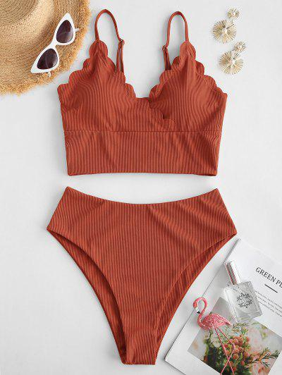 ZAFUL Maillot De Bain Tankini Festonné Côtelé Superposé - Orange M