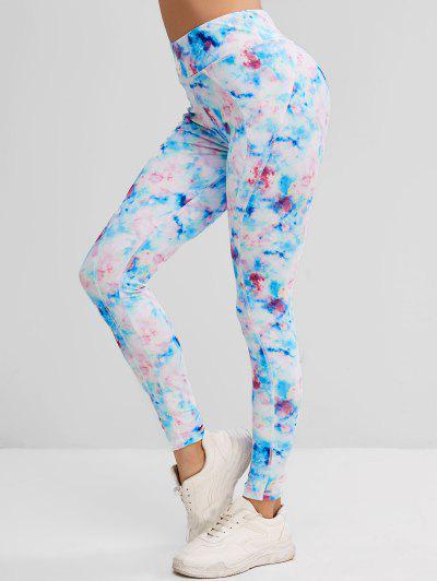 Tie Dye Topstitching Skinny Leggings - Light Blue L