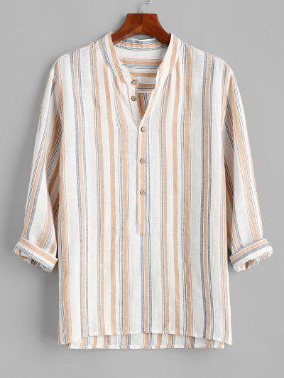 Stripes Half Button Shirt - White M
