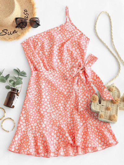 ZAFUL Ditsy Print One Shoulder Overlap Flounce Hem Dress - Living Coral S