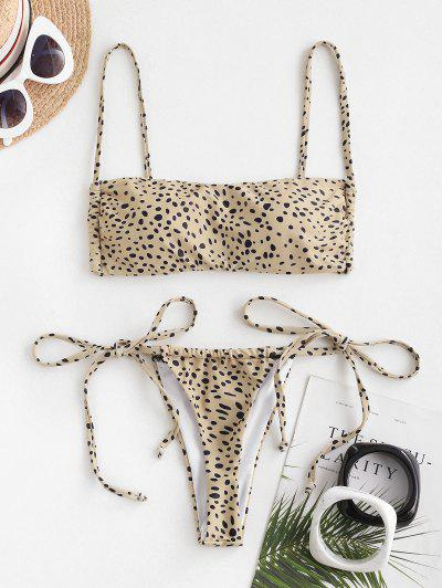 ZAFUL Leopard Print Padded String Bikini Swimwear - Coffee S