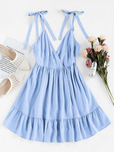 ZAFUL Ruffle Edge A Line Wrap Dress - Light Blue M