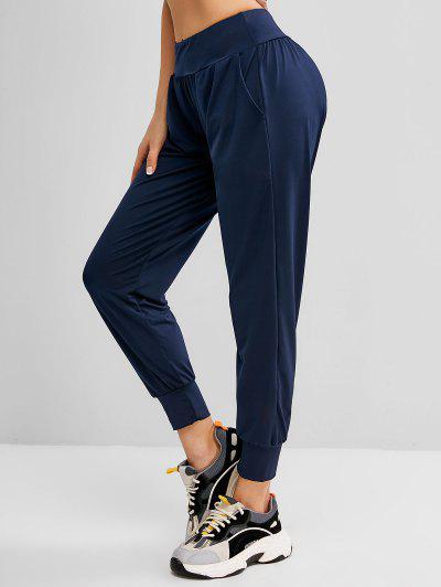 Side Buzunar Mare Creștere De Yoga Pantaloni Jogger - Albastru Inchis L