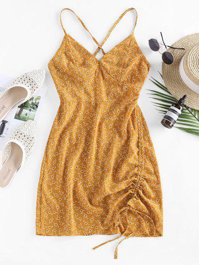 ZAFUL Vestido Floral De Criss Cross Con Lazo - Amarillo M