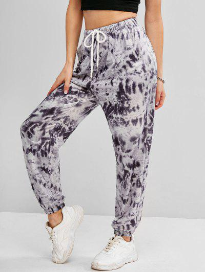 Tie Dye Drawstring Pocket Jogger Pants - Gray M