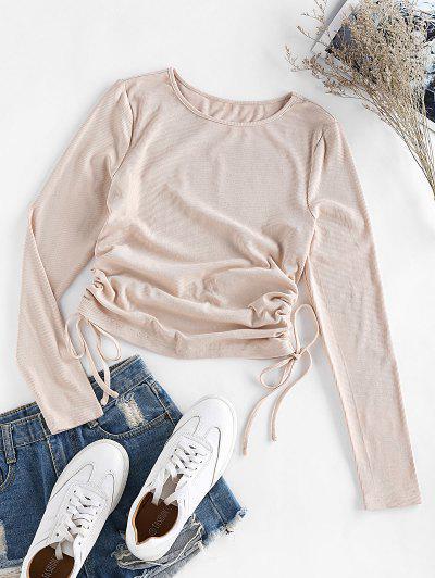 ZAFUL Ribbed Cinched T Shirt - Apricot M