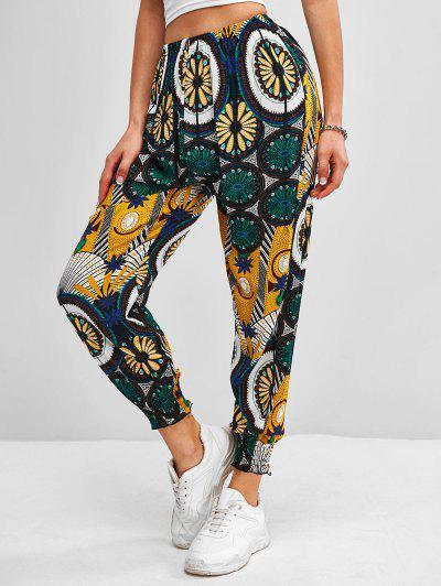 Bohemian Printed Pants - Green M