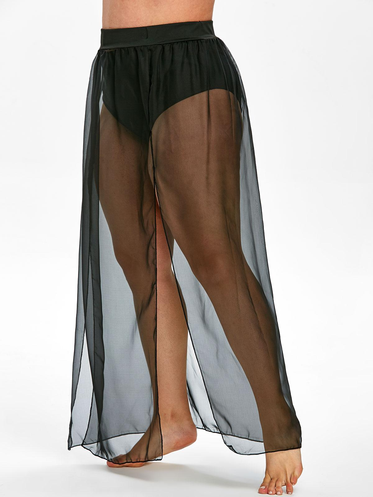 36 Off 2020 Plus Size See Through Slit Swim Cover Up Maxi Skirt In Black Zaful