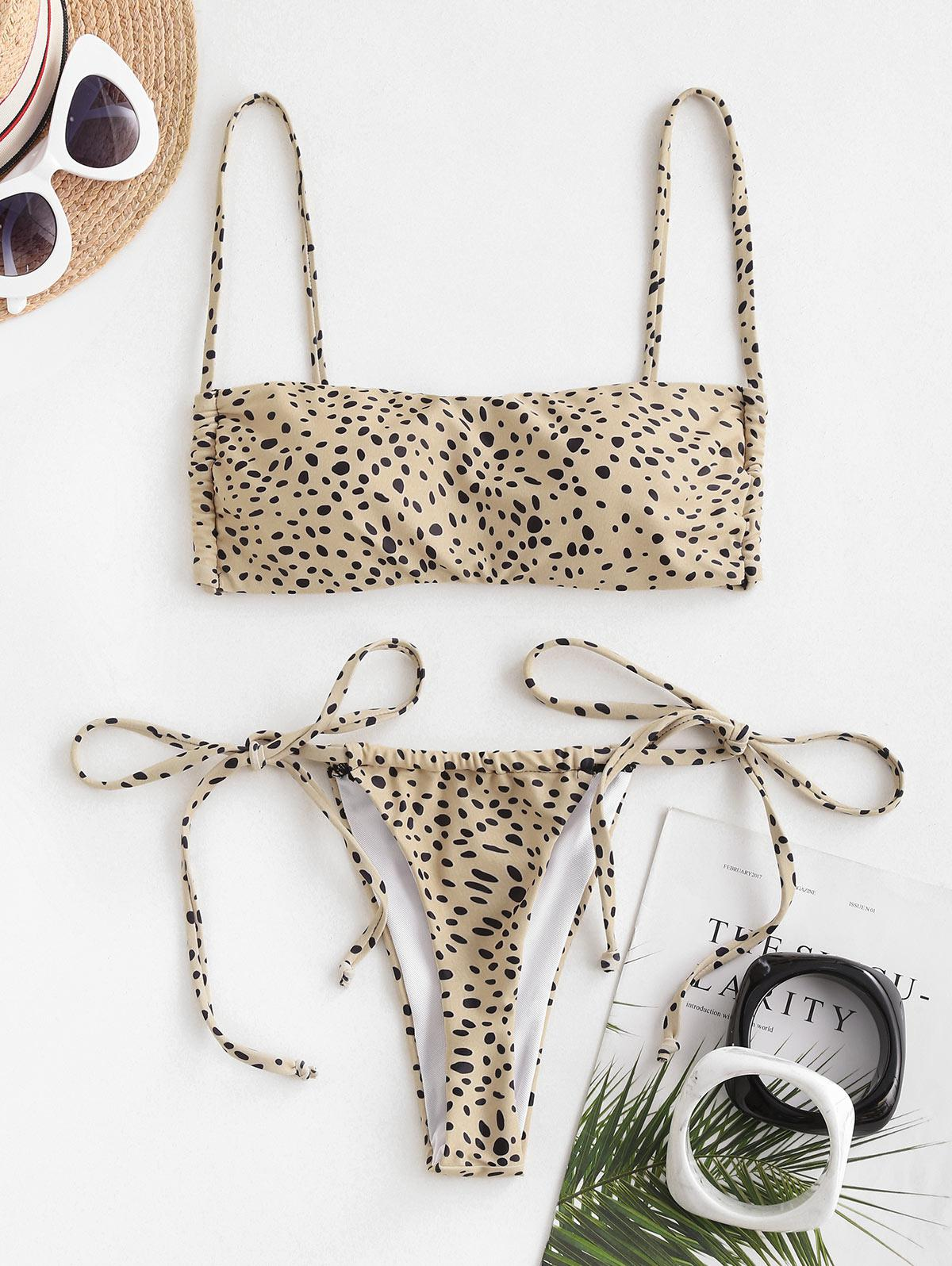 ZAFUL Leopard Print Padded String Bikini Swimwear