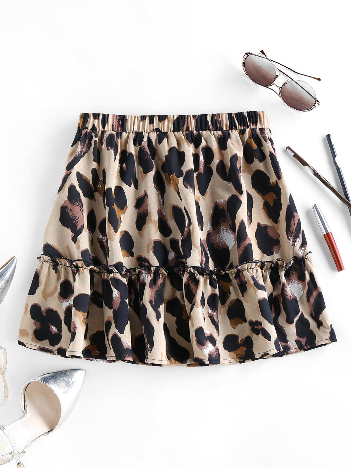 ZAFUL Leopard Animal Print Frilled Mini Skirt