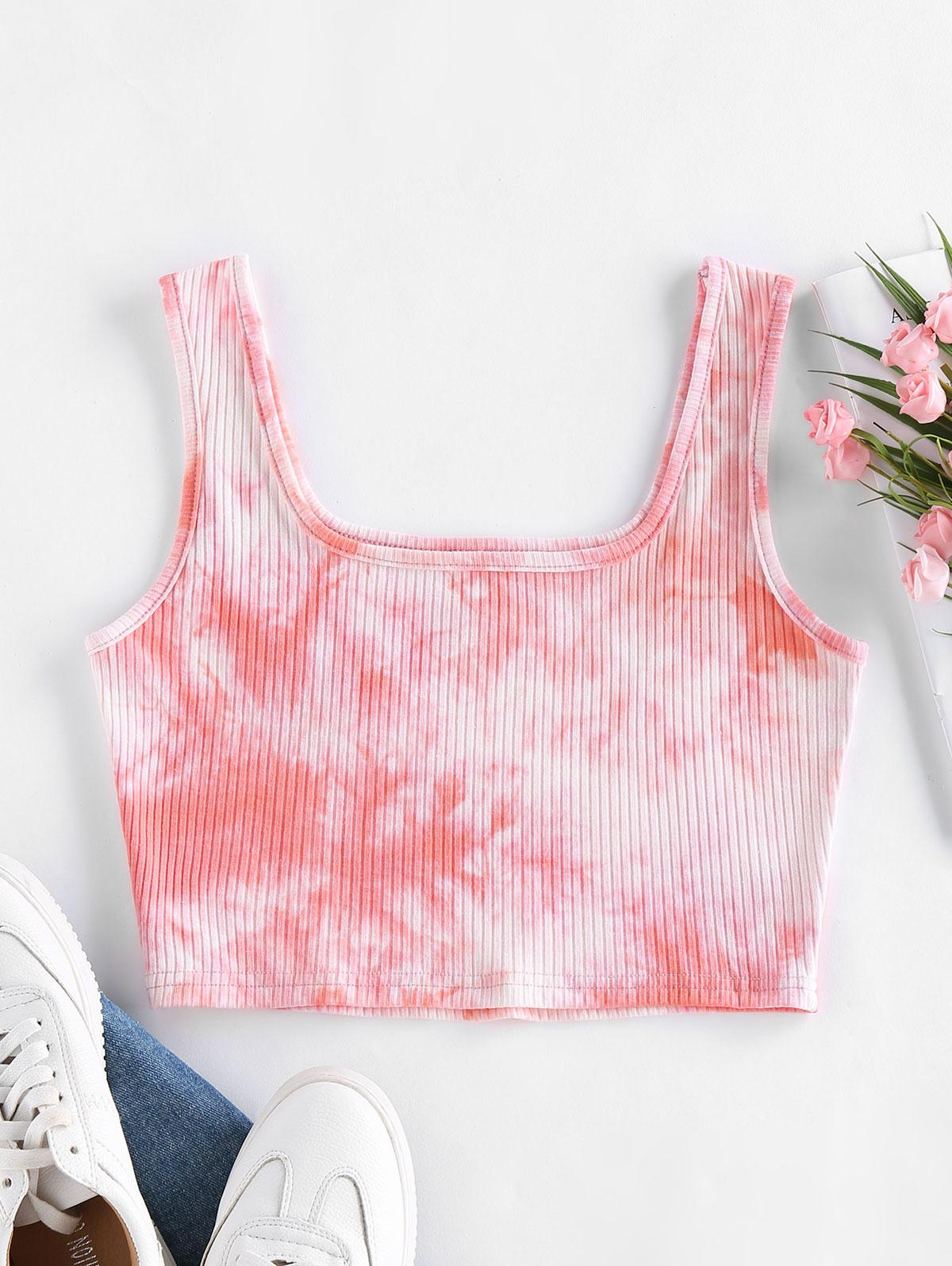 ZAFUL Basic Tie Dye Ribbed Crop Top
