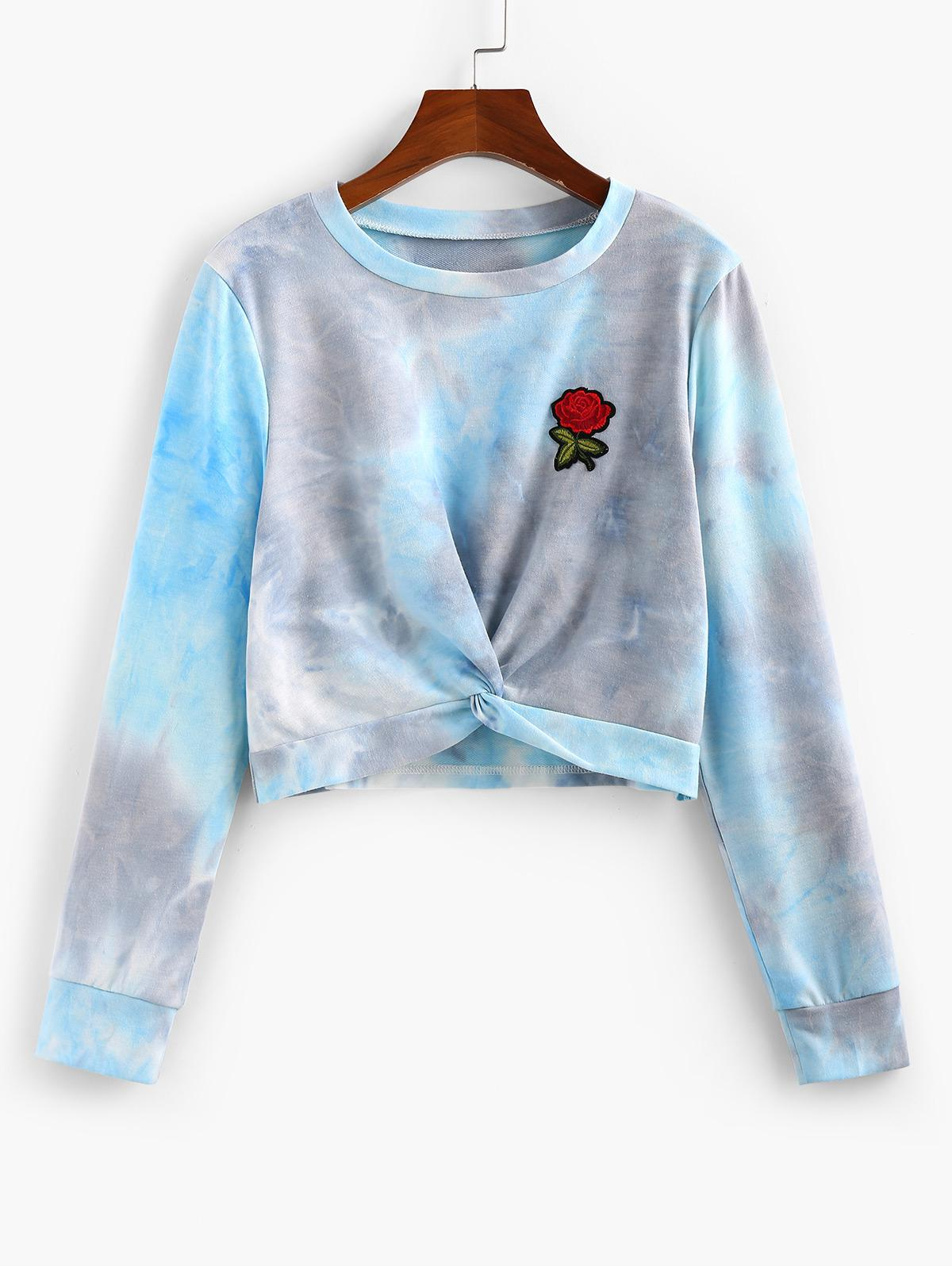 ZAFUL Tie Dye Rose Applique Front Twist Sweatshirt