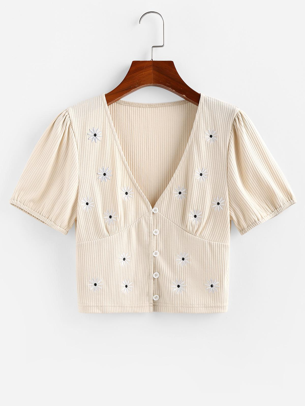 ZAFUL Ribbed Daisy Embroidered Plunging Top