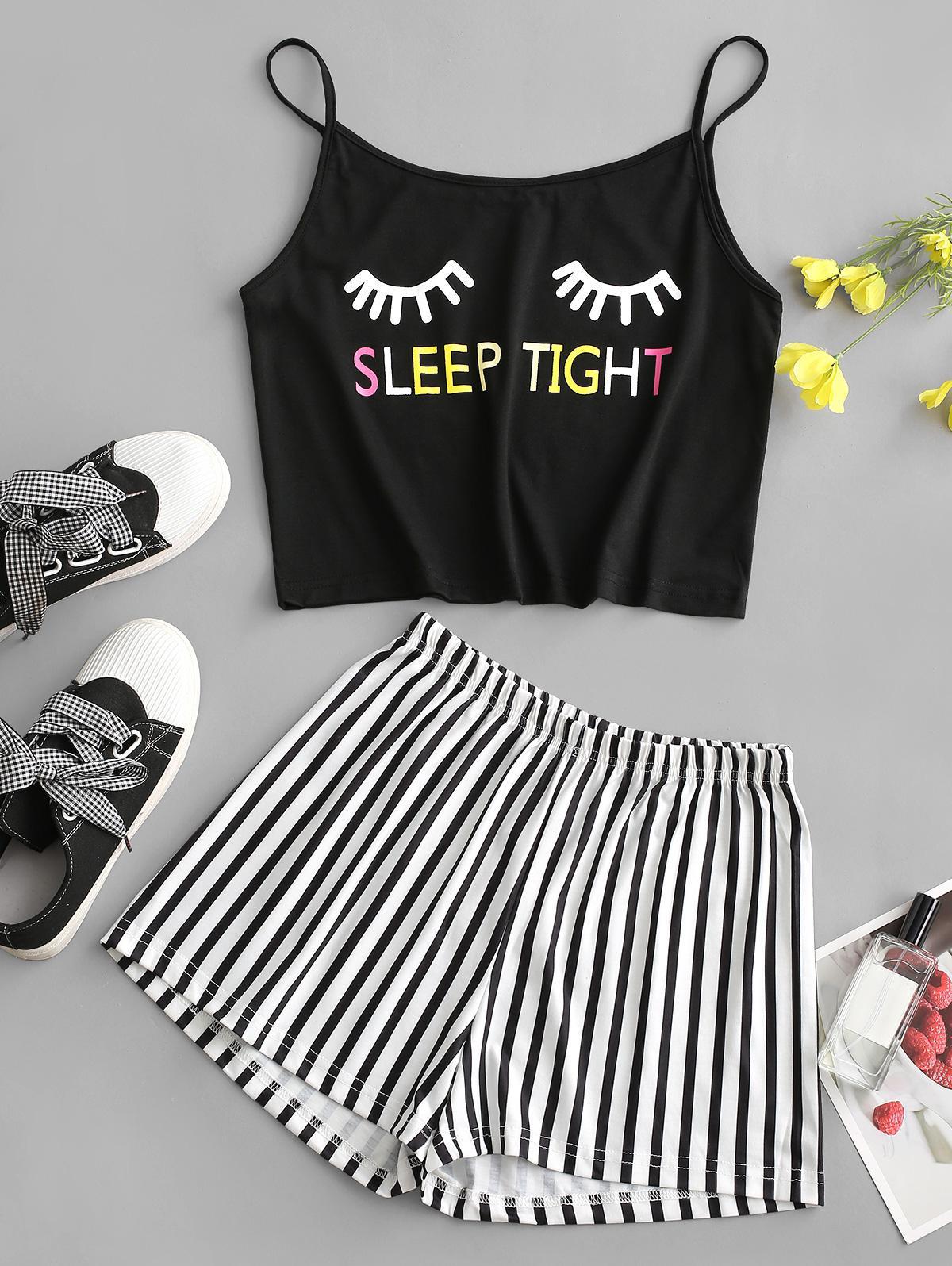 Eyelash SLEEP TIGHT Graphic Stripes Pajama Suit