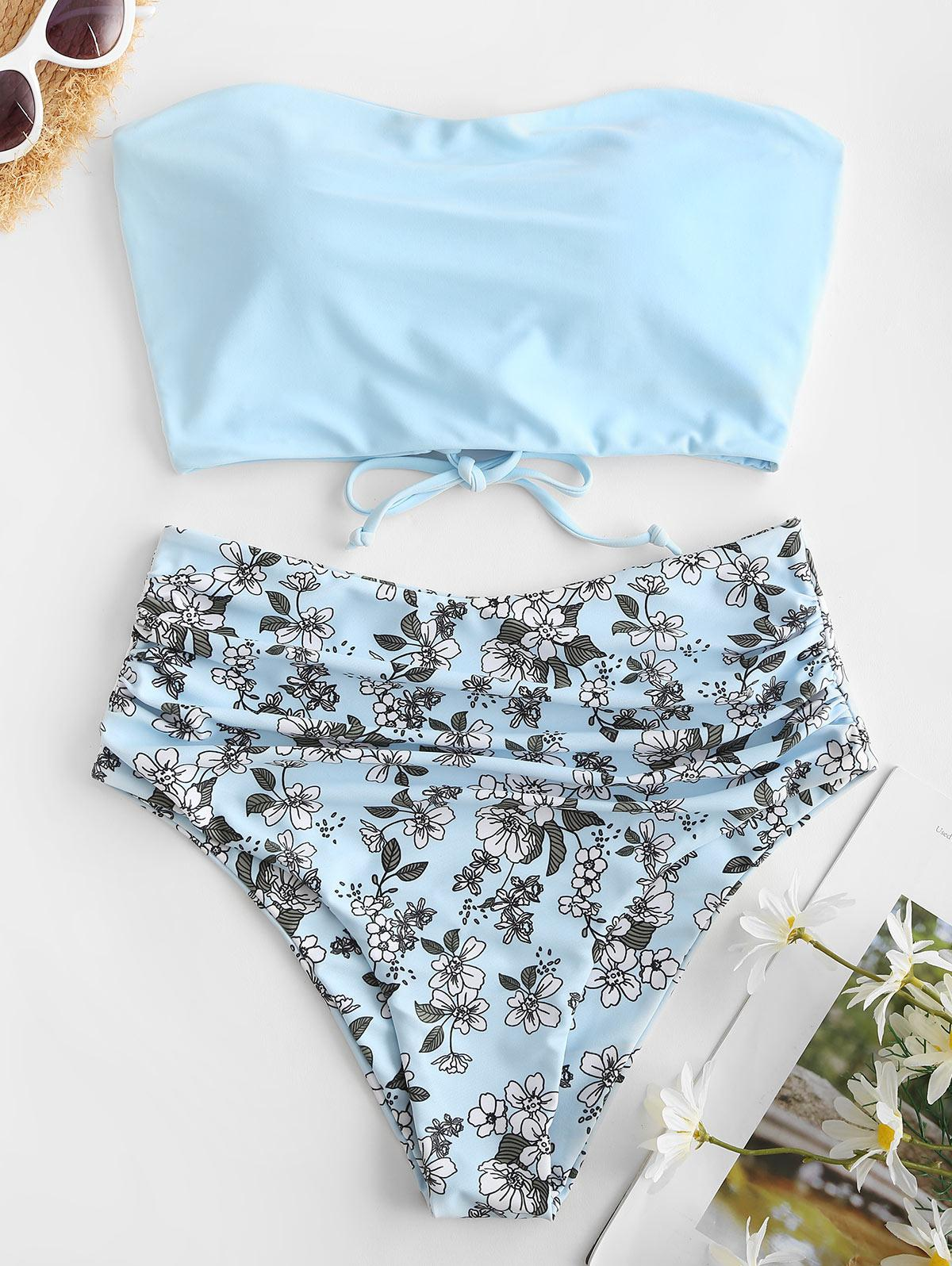 ZAFUL Lace Up Floral Bandeau High Waisted Tankini Swimwear