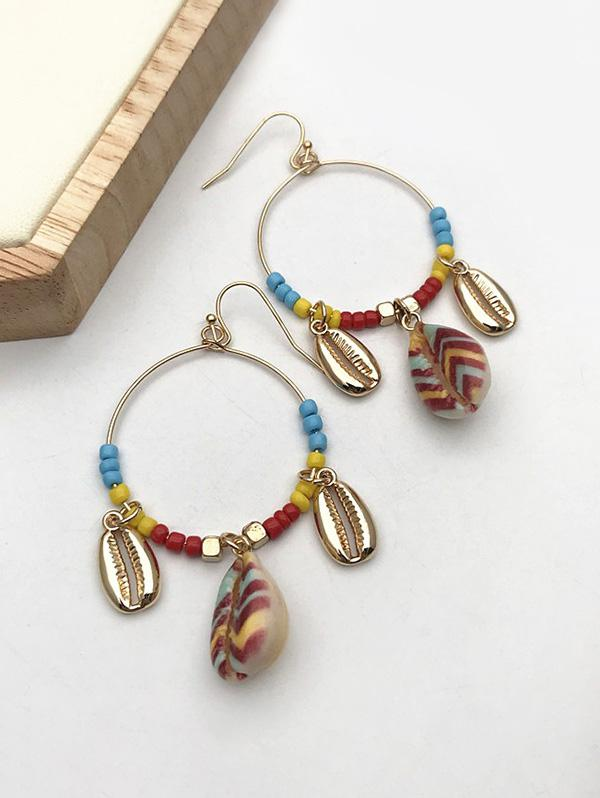 Bohemian Shell Beads Circle Dangle Earrings