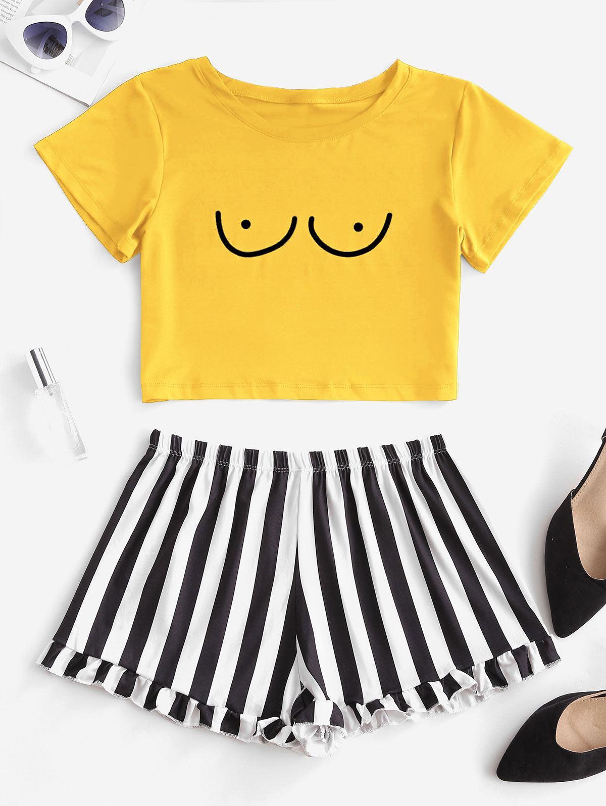 zaful Graphic Stripes Pajama Set