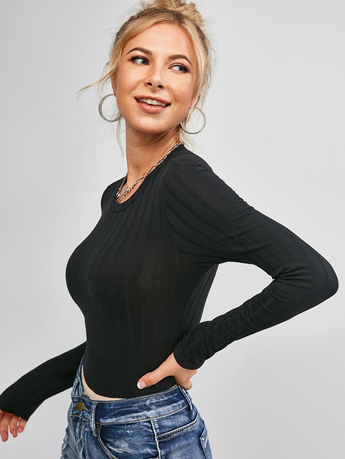 Plain Ribbed Cropped Tee