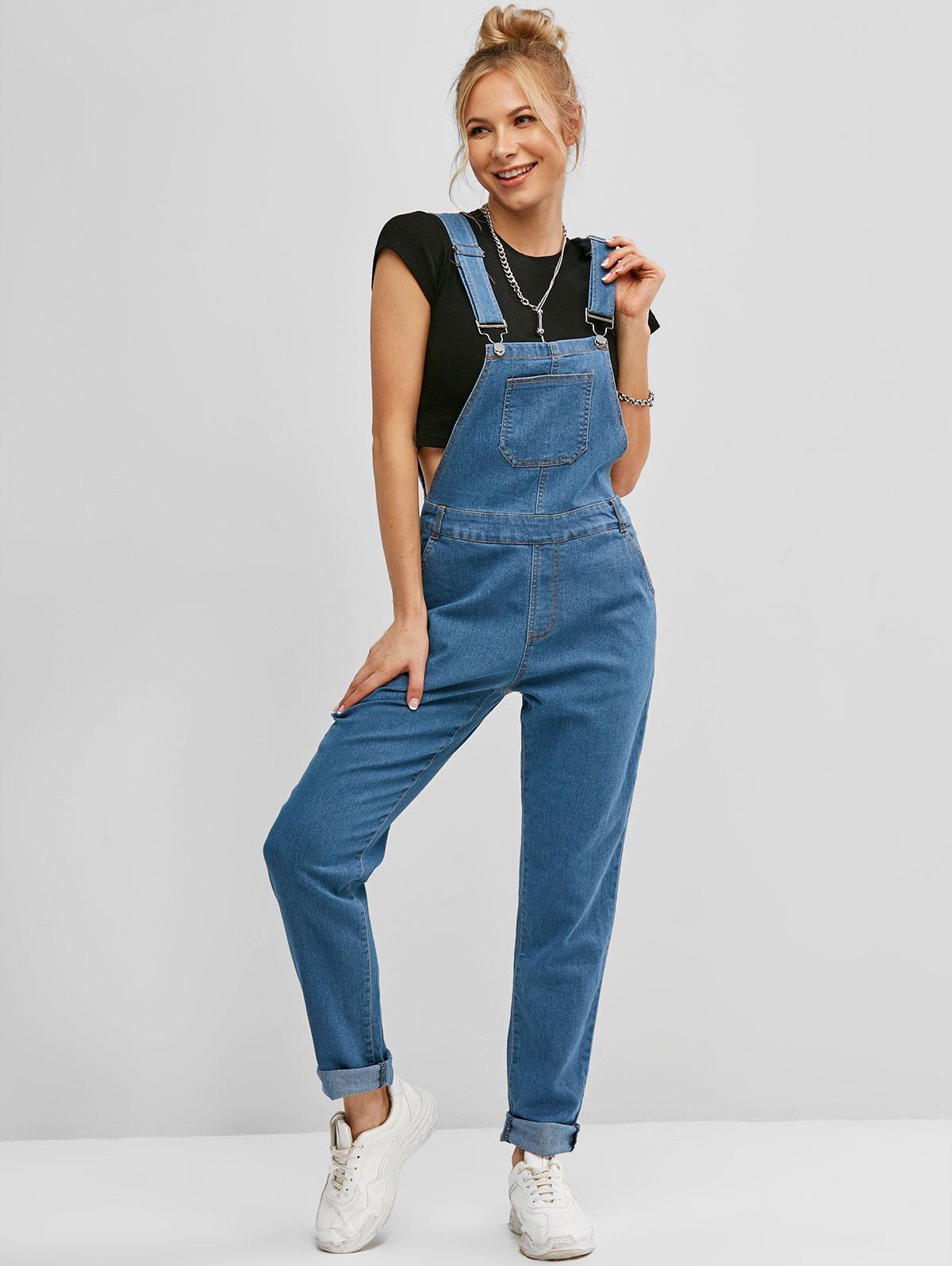 Denim Pockets Overalls Tapered Jumpsuit