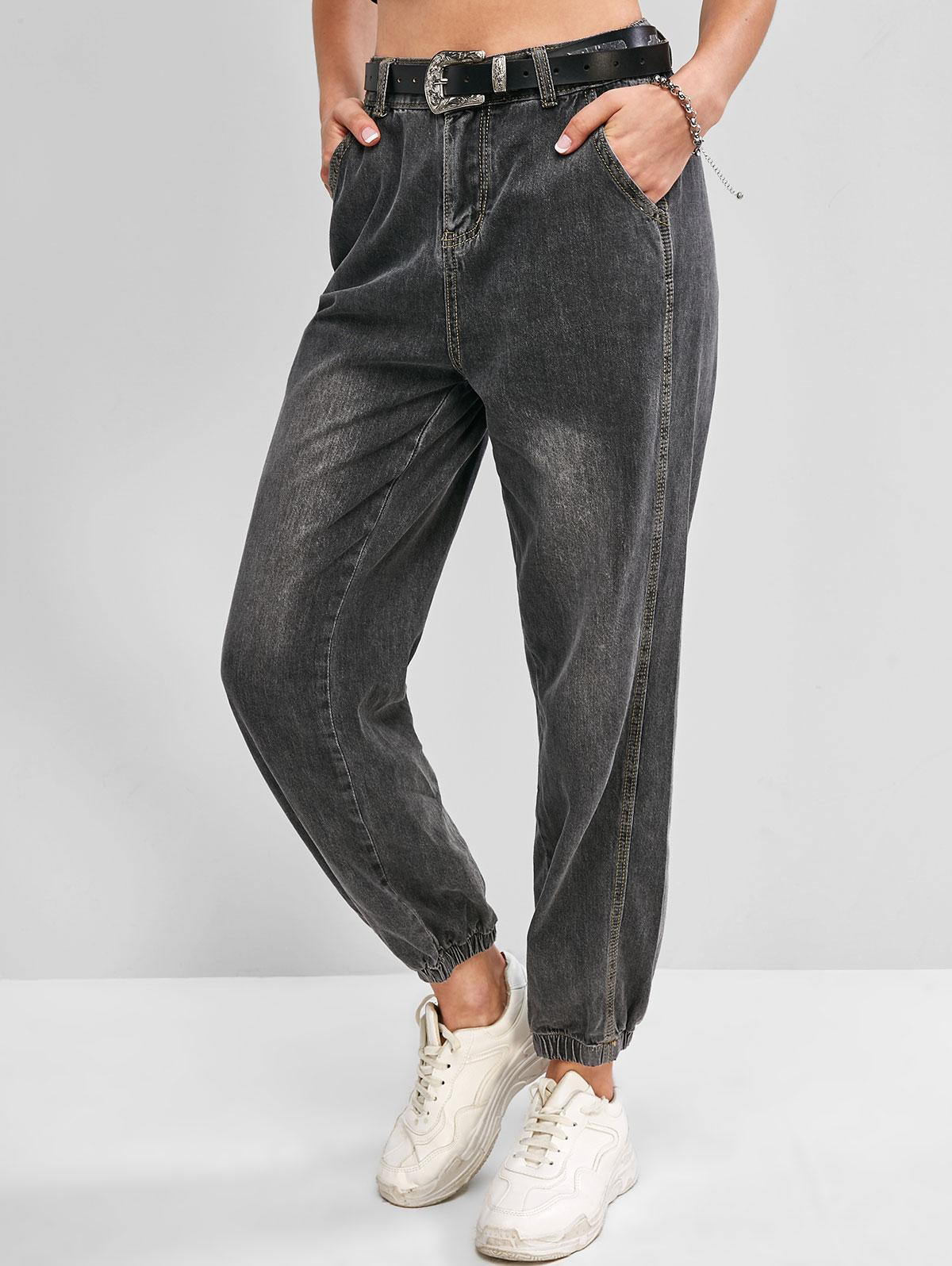 Zip Fly High Waisted Pocket Jogger Jeans