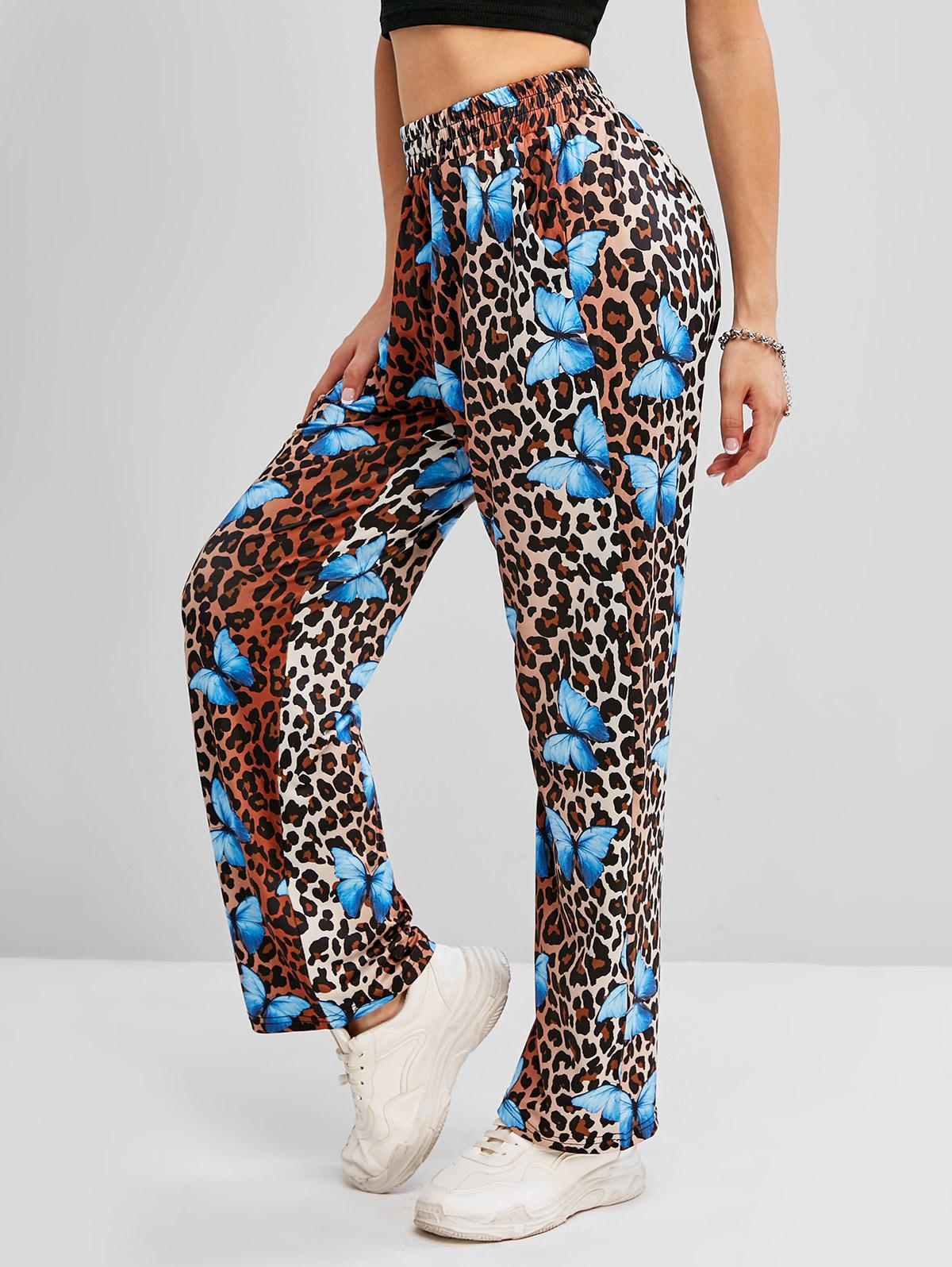 Leopard Butterfly Print High Waisted Straight Pants